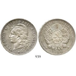 Argentina, 1 peso (patacon), 1881. Janson-12 ; KM-29. 24.9 grams. Lustrous AU with very light surfac