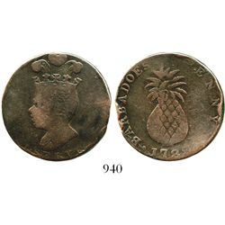 Barbados, copper penny, 1788 (large head, large pineapple). KM-Tn8. 13.4 grams. Well-circulated Abou