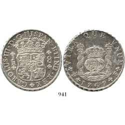 Potosi, Bolivia, pillar 8 reales, Charles III, 1769JR, fancy 9. KM-50; CT-970. 26.9 grams. Lightly c