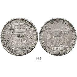 Potosi, Bolivia, pillar 8 reales, Charles III, 1769JR, regular 9 / fancy 9. KM-50; CT-unlisted. 26.8