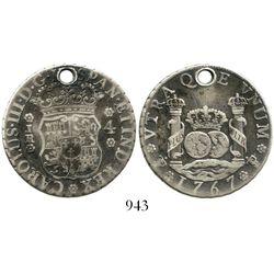 Potosi, Bolivia, pillar 4 reales, Charles III, 1767JR. KM-49; CT-1167. 13.0 grams. Deeply toned VF w