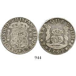 Potosi, Bolivia, pillar 4 reales, Charles III, 1769JR, fancy 9. KM-49; CT-1170. 12.9 grams. Bold VF
