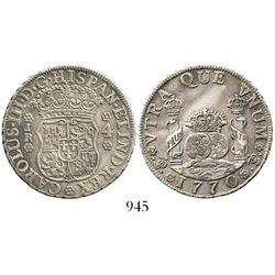 Potosi, Bolivia, pillar 4 reales, Charles III, 1770JR. KM-49; CT-1172. 13.4 grams. Deeply toned AXF,