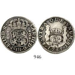 Potosi, Bolivia, pillar 2 reales, Charles III, 1769/8JR, fancy 9, very rare overdate. KM-unlisted; C