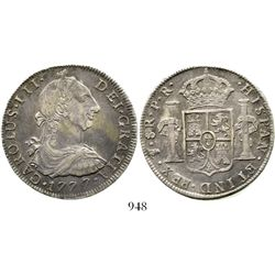Potosi, Bolivia, bust 8 reales, Charles III, 1777PR. KM-55; CT-978. 26.8 grams. Nicely toned AU with