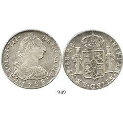 Potosi, Bolivia, bust 8 reales, Charles III, 1782PR. KM-55; CT-986. 26.7 grams. AU with faint surfac