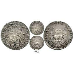 Bogota, Colombia, pillar 1 real, Charles III, 1760JV, ex-Em. Ortiz, Restrepo plate coin, very rare