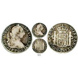 Bogota, Colombia, bust 2 reales, Charles III, 1772VJ, rare. KM-47; Restrepo-42.2; CT-1410. 6.5 grams