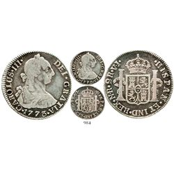 Bogota, Colombia, bust 2 reales, Charles III, 1773VJ, rare. KM-47; Restrepo-42.4; CT-1411. 6.5 grams