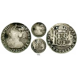Bogota, Colombia, bust 2 reales, Charles III, 1780JJ, very rare. KM-47; Restrepo-42.8; CT-1414. 6.7
