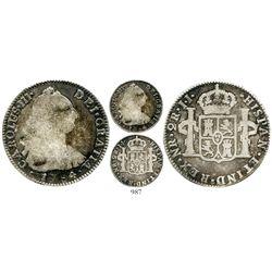 Bogota, Colombia, bust 2 reales, Charles III, 1784JJ, rare. KM-47; Restrepo-42.10; CT-1415. 6.2 gram