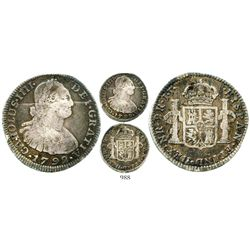 Bogota, Colombia, bust 2 reales, Charles IV, 1792JJ, rare. KM-59; Restrepo-80.1; CT-1029. 6.6 grams.