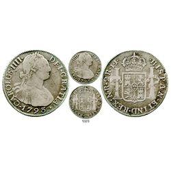 Bogota, Colombia, bust 2 reales, Charles IV, 1793JJ, rare. KM-59; Restrepo-80.3; CT-1030. 6.6 grams.