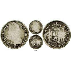 Bogota, Colombia, bust 2 reales, Charles IV, 1796JJ, rare. KM-59; Restrepo-80.8; CT-1032. 6.2 grams.