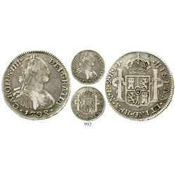 Bogota, Colombia, bust 2 reales, Charles IV, 1798/7JJ, rare. KM-59; Restrepo-80.9; CT-1033. 6.6 gram