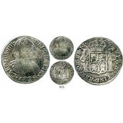 Bogota, Colombia, bust 2 reales, Charles IV, 1798JJ (no overdate), rare. KM-59; Restrepo-80.10; CT-1