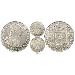 Bogota, Colombia, bust 2 reales, Ferdinand VII (bust of Charles IV), 1816FJ/JJ (scarce over-assayer)