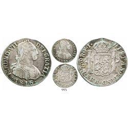 Bogota, Colombia, bust 2 reales, Ferdinand VII (bust of Charles IV), 1816FJ. KM-70.1; Restrepo-113.3