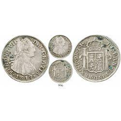 Bogota, Colombia, bust 2 reales, Ferdinand VII (bust of Charles IV), 1817FJ, no dot before HISPAN, c