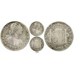Bogota, Colombia, bust 2 reales, Ferdinand VII (bust of Charles IV), 1818FJ. KM-70.1; Restrepo-113.7
