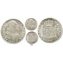 Bogota, Colombia, bust 2 reales, Ferdinand VII (bust of Charles IV), 1819FJ, finest known. KM-70.1;