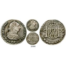 Bogota, Colombia, bust 1 real, Charles III, 1772/1772V•J, rare. KM-46.1; Restrepo-38.1a; CT-1624. 3.