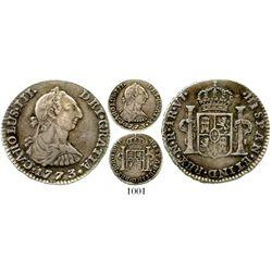 Bogota, Colombia, bust 1 real, Charles III, 1773VJ, scarce. KM-46.1; Restrepo-38.3; CT-1625. 3.5 gra