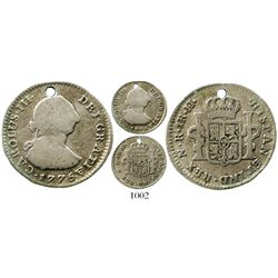 Bogota, Colombia, bust 1 real, Charles III, 1775JJ, very rare. KM-46.1; Restrepo-38.5; CT-1626. 3.3