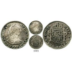 Bogota, Colombia, bust 1 real, Charles III, 1776JJ, popular date, rare. KM-46.1; Restrepo-38.7; CT-1