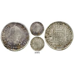 Bogota, Colombia, bust 1 real, Charles III, 1781JJ (no dot), very rare. KM-46.1; Restrepo-38.11a; CT