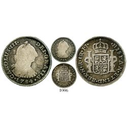 Bogota, Colombia, bust 1 real, Charles III, 1784JJ, very rare. KM-46.1; Restrepo-38.13; CT-1630. 3.0