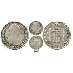 Bogota, Colombia, bust 1 real, Charles IV, 1792JJ, no dot in mintmark. KM-58; Restrepo-78.4a; CT-118