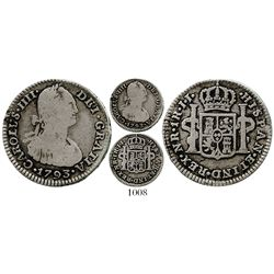 Bogota, Colombia, bust 1 real, Charles IV, 1793JJ, no dot in mintmark. KM-58; Restrepo-78.8a; CT-118