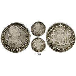 Bogota, Colombia, bust 1 real, Charles IV, 1795JJ, no dot in mintmark. KM-58; Restrepo-78.12a; CT-11