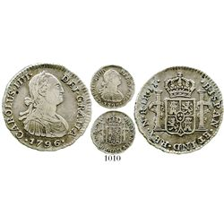 Bogota, Colombia, bust 1 real, Charles IV, 1796JJ. KM-58; Restrepo-78.16; CT-1188. 3.0 grams. Bold A
