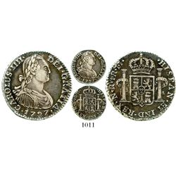 Bogota, Colombia, bust 1 real, Charles IV, 1797JJ, Calico plate coin. KM-58; Restrepo-78.20; CT-1189