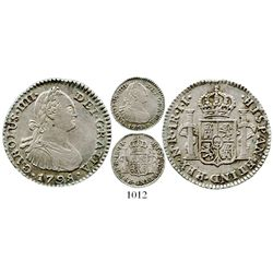 Bogota, Colombia, bust 1 real, Charles IV, 1798JJ. KM-58; Restrepo-78.24; CT-1190. 3.3 grams. Nice X