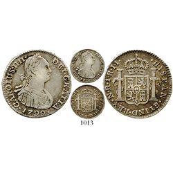 Bogota, Colombia, bust 1 real, Charles IV, 1799/99JJ. KM-58; Restrepo-78.30a; CT-1191. 3.2 grams. Li