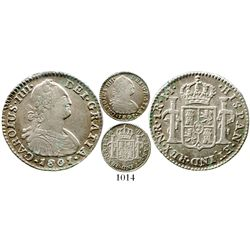 Bogota, Colombia, bust 1 real, Charles IV, 1801/797JJ, rare. KM-58; Restrepo-78.32; CT-unlisted. 3.4