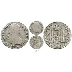 Bogota, Colombia, bust 1 real, Charles IV, 1804JJ, very rare. KM-58; Restrepo-78.40; CT-1194. 3.2 gr