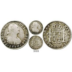 Bogota, Colombia, bust 1 real, Ferdinand VII (bust of Charles IV), 1810/09JF. KM-68.1; Restrepo-111.