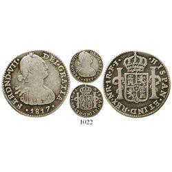 Bogota, Colombia, bust 1 real, Ferdinand VII (bust of Charles IV), 1817FJ. KM-68.1; Restrepo-111.11;