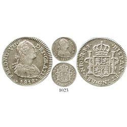 Bogota, Colombia, bust 1 real, Ferdinand VII (bust of Charles IV), 1818FJ. KM-68.1; Restrepo-111.13;