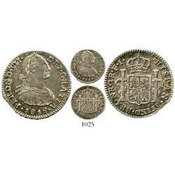 Bogota, Colombia, bust 1 real, Ferdinand VII (bust of Charles IV), 1819FJ, inverted J. KM-68.1; Rest