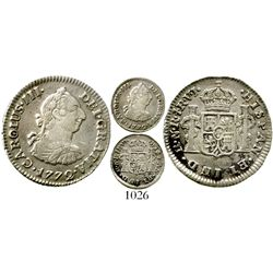 Bogota, Colombia, bust 1/2 real, Charles III, 1772VJ, rare, Restrepo plate coin. KM-45.1; Restrepo-3