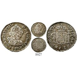 Bogota, Colombia, bust 1/2 real, Charles III, 1773VJ (no dot), rare, Restrepo plate coin, ex-Whittie