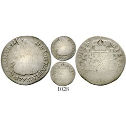 Bogota, Colombia, bust 1/2 real, Charles III, 1775JJ, very rare. KM-45.1; Restrepo-32.5; CT-1826. 1.