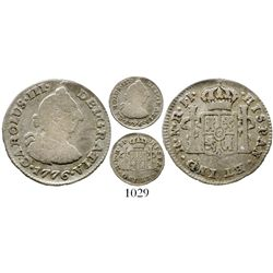 Bogota, Colombia, bust 1/2 real, Charles III, 1776JJ, popular date, very rare. KM-45.1; Restrepo-32.