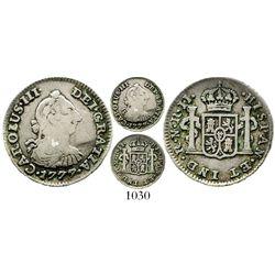 Bogota, Colombia, bust 1/2 real, Charles III, 1777JJ, ex-Iriarte, very rare. KM-45.1; Restrepo-32.9;