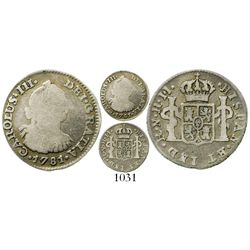 Bogota, Colombia, bust 1/2 real, Charles III, 1781JJ, very rare. KM-45.1; Restrepo-32.11; CT-1829. 1